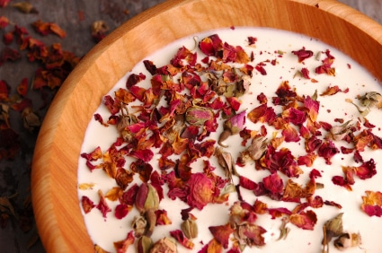 Rose petals floated in scented milk