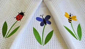 Colorful Garden Bugs Dishtowel