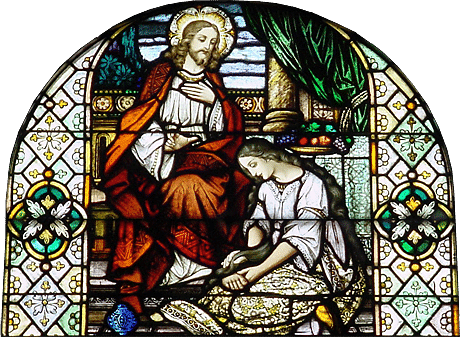 stain glass window portraying woman anointing Jesus Christ's feet