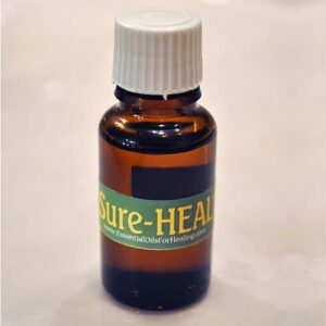 Bottle of SureHEAL™ essential oil blend for surgery incisions and wounds