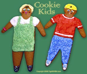 gingerbread cookies decorated as portraits of kids on your gift list