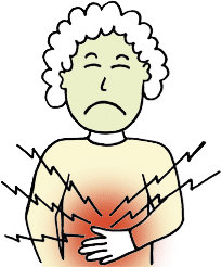 lady with upset stomach cartoon