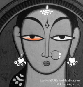 art of east indian woman with red eye