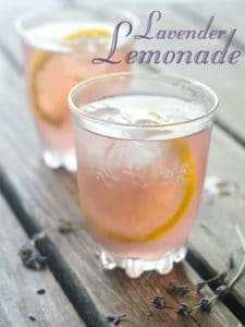 lavender lemonade in chilled glasses
