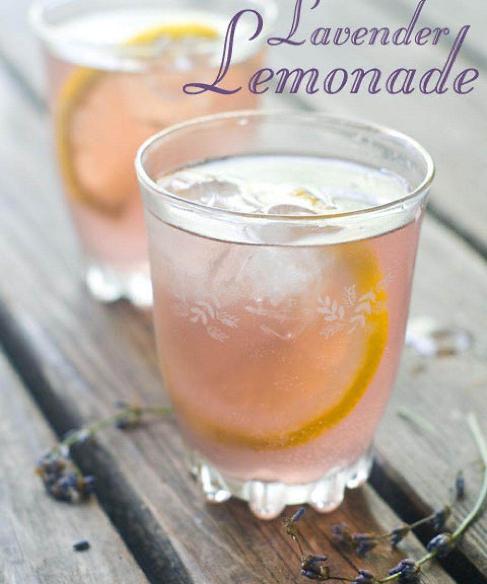 lavender lemonade in chilled glasses